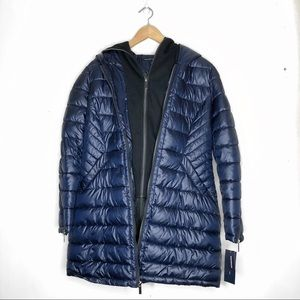 NWT French Connection Blue Layered Puffer Jacket